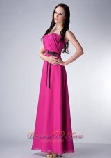 Fushsia Bridesmaid Dress Strapless Chiffon Sash Ankle-length