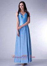 Baby Blue Cloumn V-neck Bridesmaid Dress Beading Ankle-length