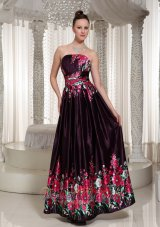 Printing Prom Celebrity Gown Strapless Neckline Ankle Length