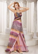 Multi-color High Slit Sweetheart Maxi Homecoming Dress