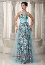 Lastest Sweetheart Print and Tulle Ruched Maxi Dress
