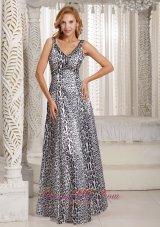 Long Leopard V-neck Prom Dama Dresses For Quinceanera Dress