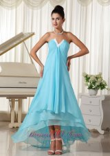 Baby Blue High-low Chiffon Homecoming Dress On Sale