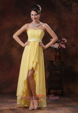 Yellow High-low Prom Holiday Dress With Belt Decorate