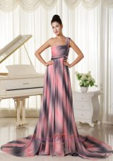 One Shoulder Ombre Color Chiffon Prom Gown