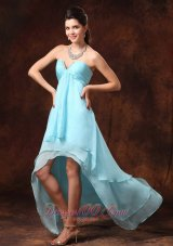 Auqa Blue Prom Gown High-low Empire Chiffon Sweetheart