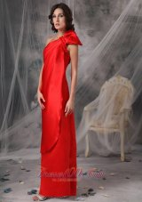 Red Evening Dress One Shoulder Elastic Woven Satin Ruched