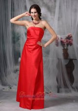 Red Bridesmaid Dress Sheath Strapless Satin