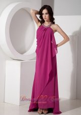 Fuchsia Halter Top Prom Gown For Gustomers