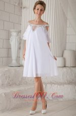 White Prom Graduation Dress Off Shoulder Knee-length Chiffon Beading