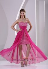 Hot Pink Prom Evening Dress High-low Sweetheart