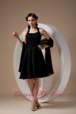 Halter Chiffon Black Knee-length Dama Bridesmaid Dresses