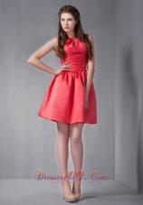 Mini-length Scoop Red Dama Bridesmaid Dress under 100