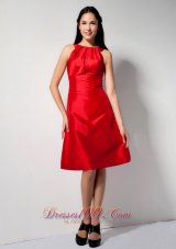 Bateau Red Knee-length Taffeta Bridesmaid Dama Dresses