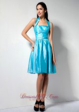 Aqua Blue Halter Taffeta Knee-length Dama Dresses