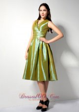 Olive Green Tea-length V-neck Taffeta Bridesmaid Dress