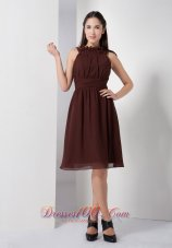 Brown Bateau Chiffon Knee-length Bridesmaid Dama Dresses