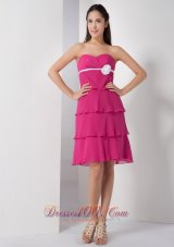Layered Hot Pink Chiffon Strapless Dama Bridesmaid Dress