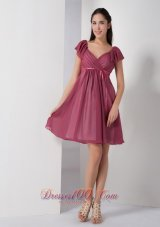 Cap Sleeves Burgundy V-neck Short Bridesmaid Dress