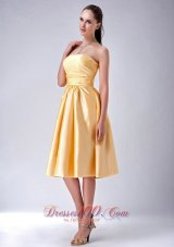 Satin Gold Strapless Tea-length Bridesmaid Dama Dress