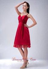 Spaghetti Straps Wine Red Knee-length Dama Dresses
