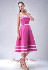 Satin Hot Pink StraplessTea-length Bridesmaid Dress