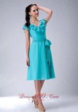 Cap Sleeves Turquoise V-neck Chiffon Bridesmaid Dama Dress