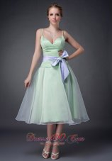 Spaghetti Straps Apple Green Mother Of The Bride Dress