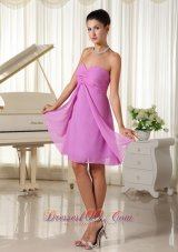 Lavender Ruched Strapless Chiffon Homecoming Dama Dresses