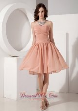 Ruched Empire Knee-length Chiffon Evening Dama Dresses