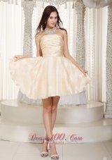 Champagne A-line Strapless Mini-length Prom Dama Dresses