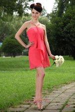 Coral Red V-neck Mini-length Chiffon Bridesmaid Dama Dresses