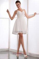 Spaghetti Straps White Chiffon Sequined Prom Dama Dresses