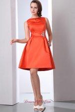Bateau Orange Red Beading Bridesmaid Dama Dress