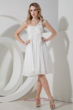One Shoulder White Empire Knee-length Prom Dama Dresses