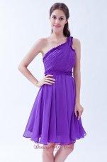 One Shoulder Purple A-line Chiffon Knee-length Dama Dresses