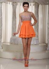 Beading Layered Spaghetti Straps Prom Dress Orange