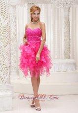 Ruffed Hot Pink Beading Mini Length Homecoming Dress