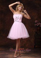 Baby Pink Organza Cocktail Prom Dress Mini Length