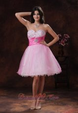 Beaded Multi-color Sweetheart Short Prom Dress Pink