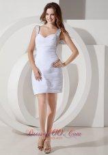 Customize Straps Short Wedding Dress Chiffon Beading
