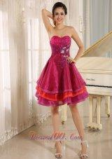 Multi-color Strapless Short Prom Dress Organza Beading
