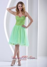 Beaded Yellow Green Sweetheart Knee-length Cocktail Dress