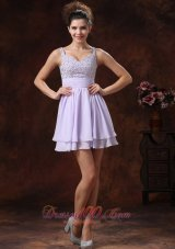 Lilac Straps Prom Cocktail Dress With Mini-length