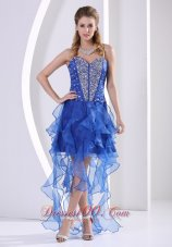 Beaded Royal Blue Homecoming Dress With Ruffles