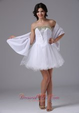Strapless Prom Dress With Beading White
