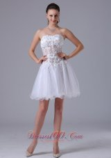 Straps Appliques White Prom Cocktial Dress With Beading