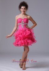 Sweetheart Mini-length Organza Beading Hot Pink Cocktail Dress