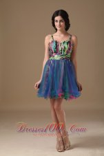 Multi-color Straps Mini-length Organza Beading Prom Dress