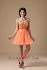 Sweetheart Mini-length Beading Prom Dress Orange Red